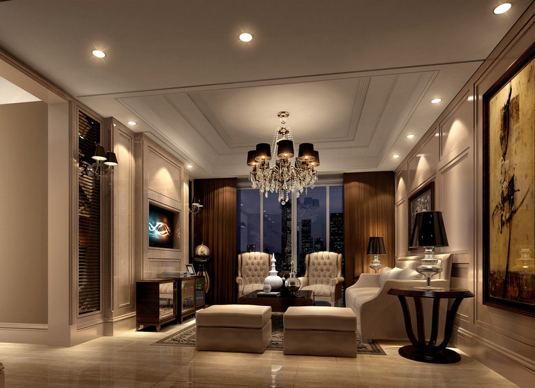 Canadian Living room European style rendering night 3D house 1065x774