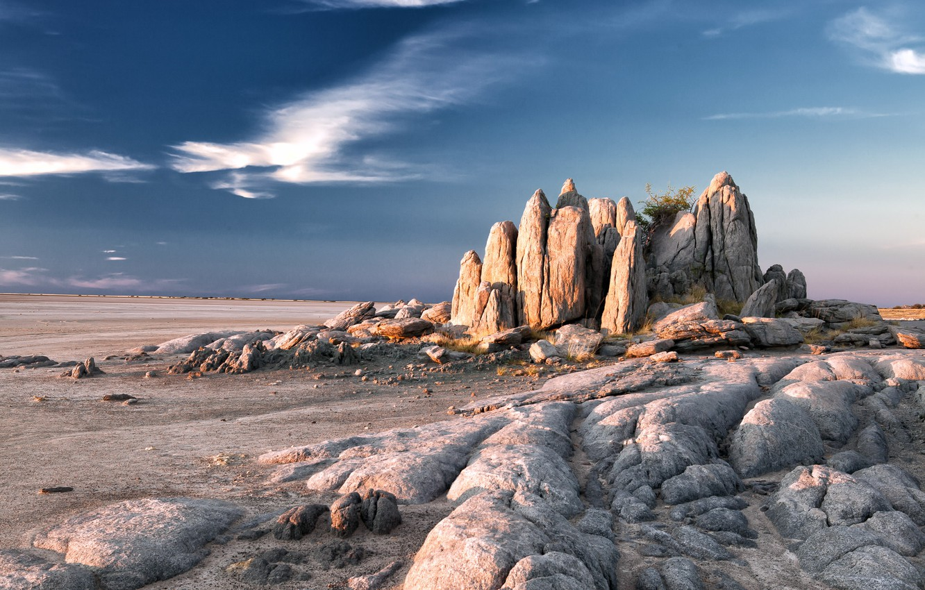 Wallpaper Botswana Kubu Island Granite Rocks images for desktop 1332x850