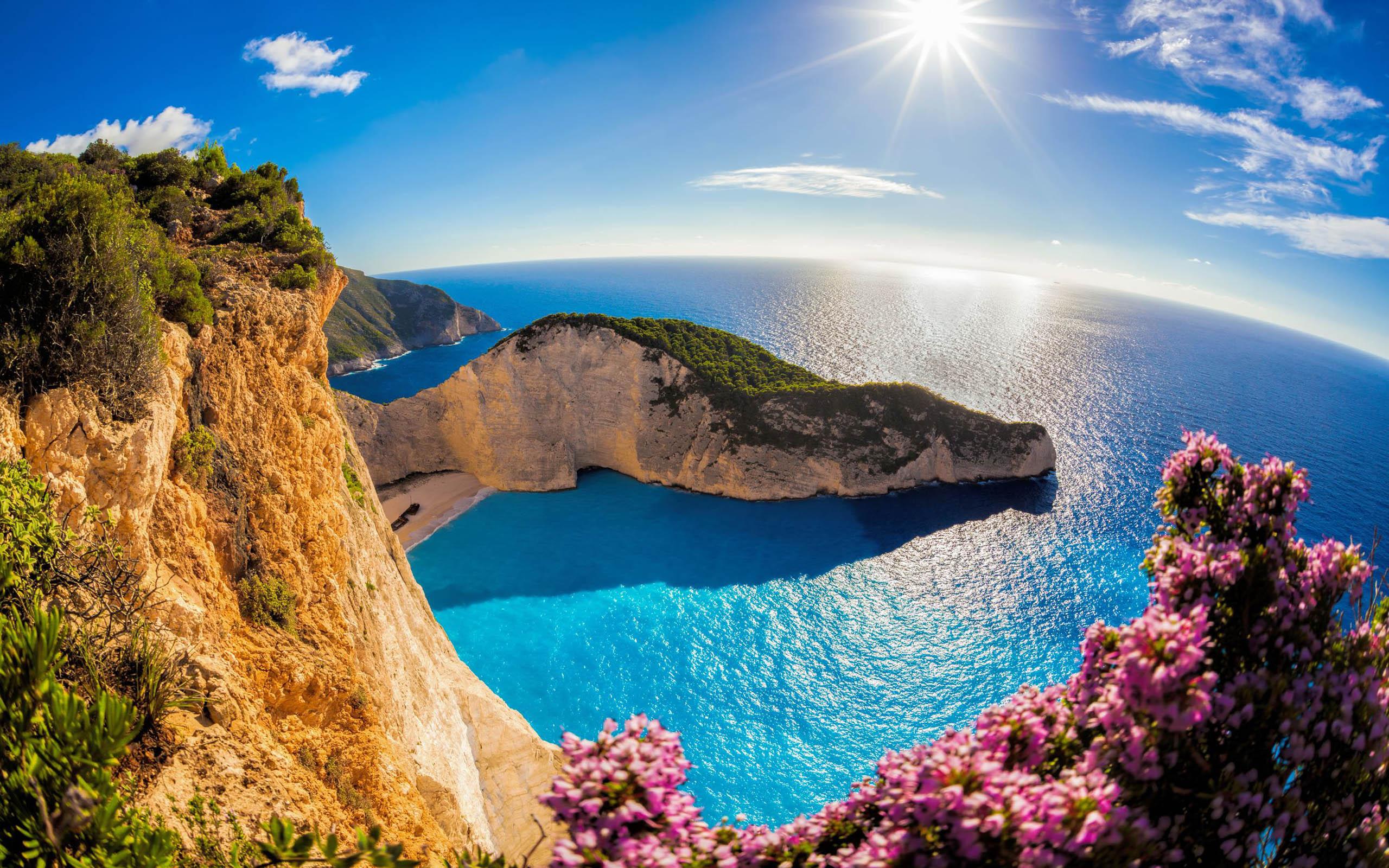 Download wallpapers Zakynthos summer bay paradise sea cliffs 2560x1600
