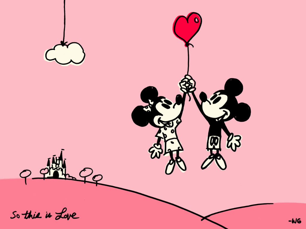 download Cute Mickey And Minney Valentines Day Wallpaper 1024x768