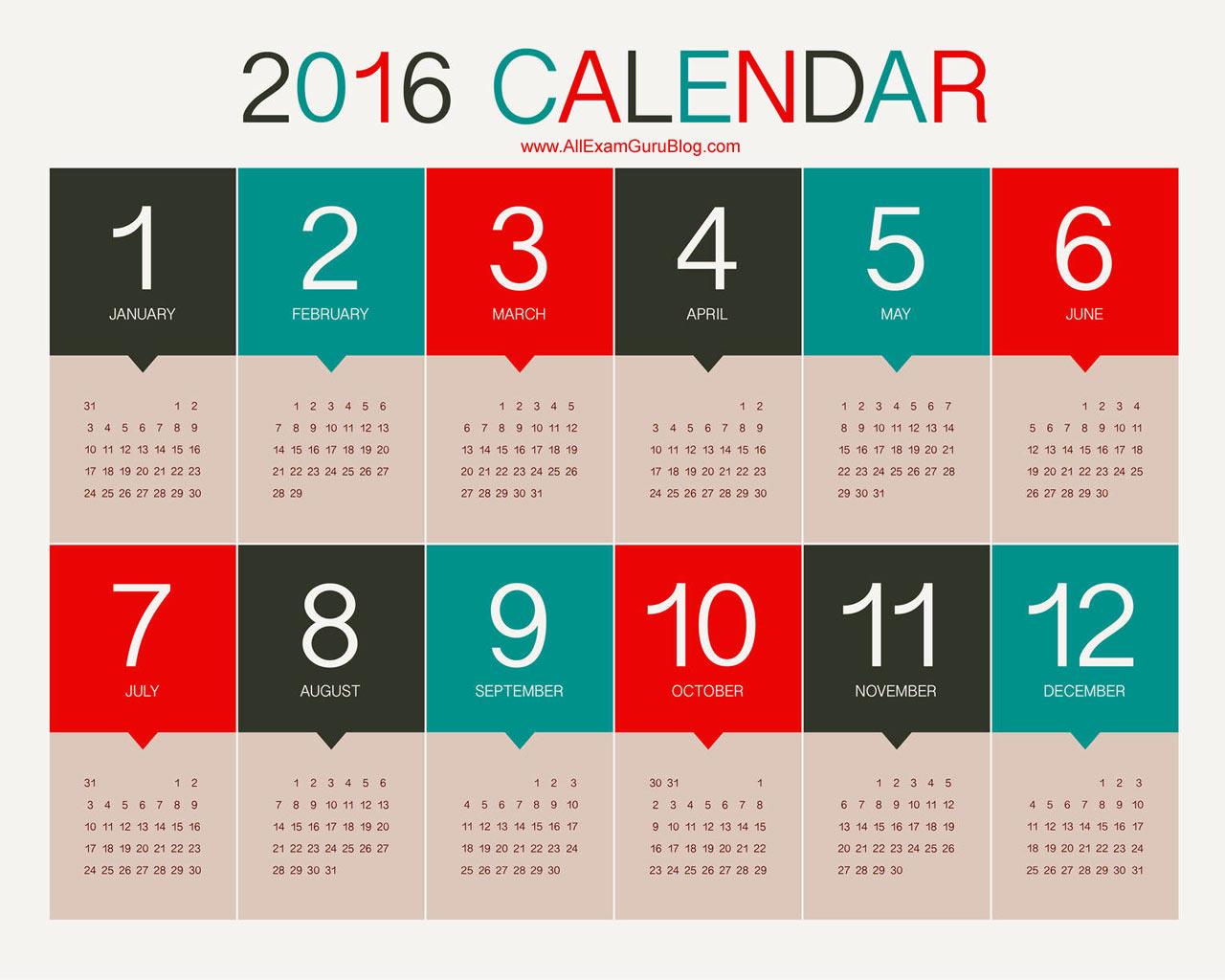 2016 Year Calendar Wallpaper Download 2016 Calendar by Month 1280x1024
