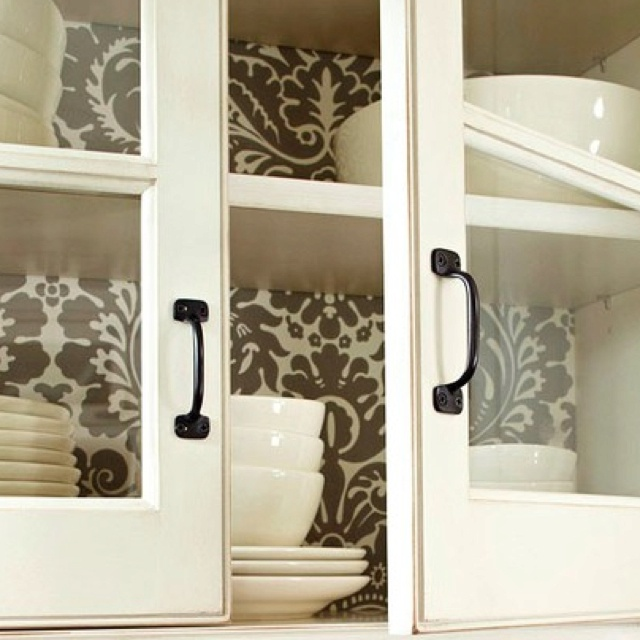Wallpaper Inside Kitchen Cabinets