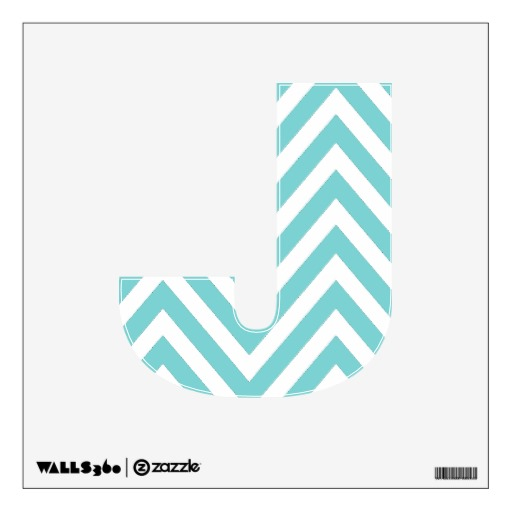 AQUA CHEVRON PATTERN LETTER J WALL DECAL Zazzle 512x512