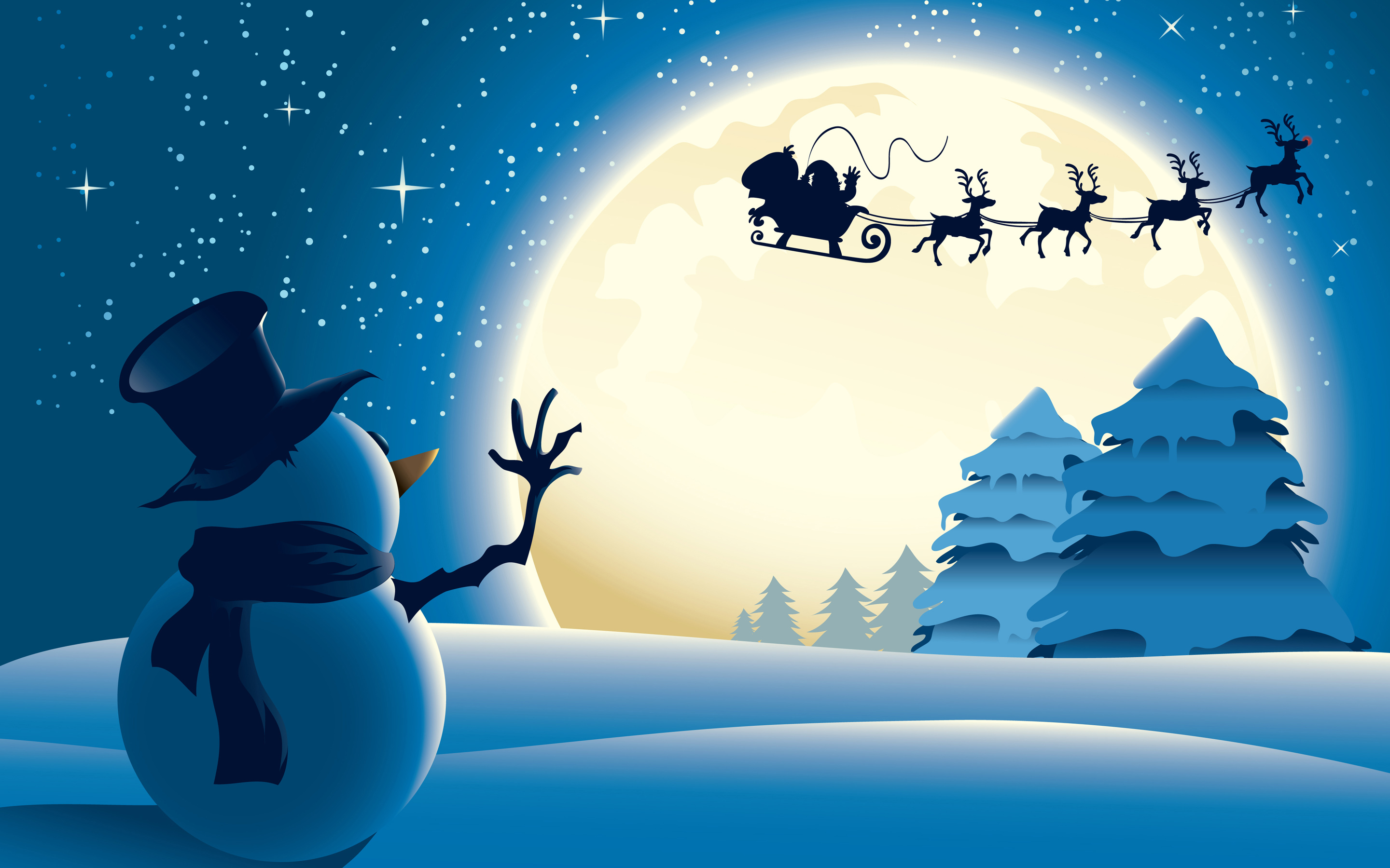 Snowman Santa Claus Christmas HD Wallpaper 2880x1800