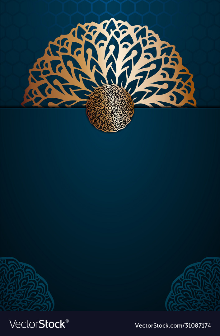A4 cover mandala background with golden arabesque Vector Image 707x1080