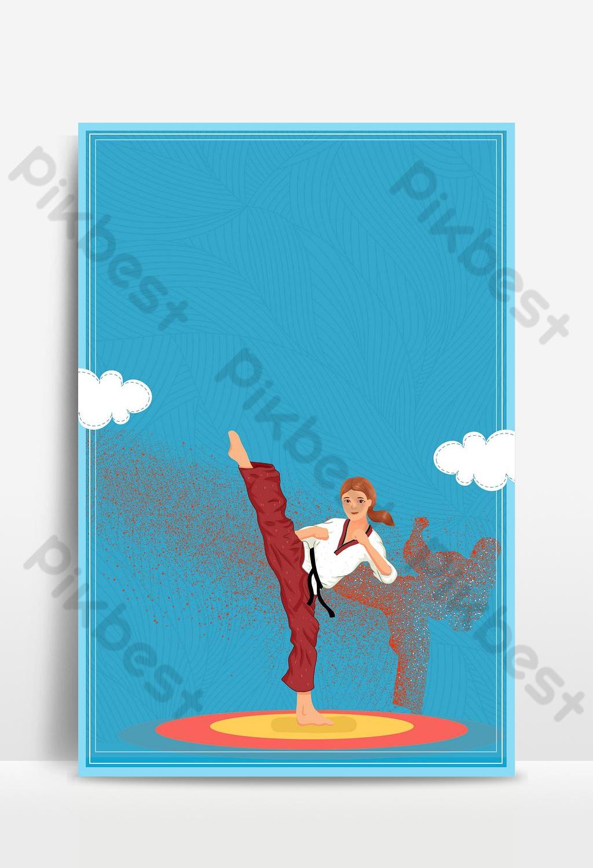 Summer vacation interest class taekwondo background Backgrounds 1024x1500