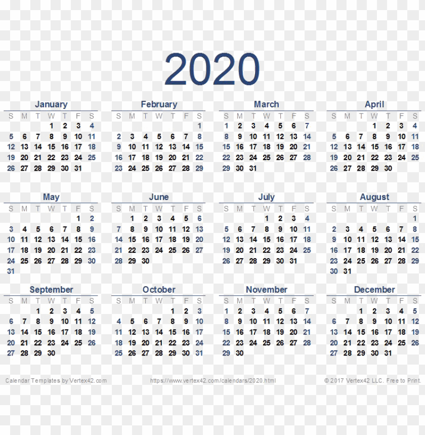 2020 calendar png download image   printable 2020 calendar 840x859