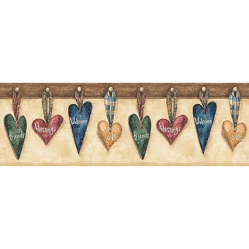 Mountain Hanging Hearts Wallpaper Border Rustic Colors   Walmartcom 500x500