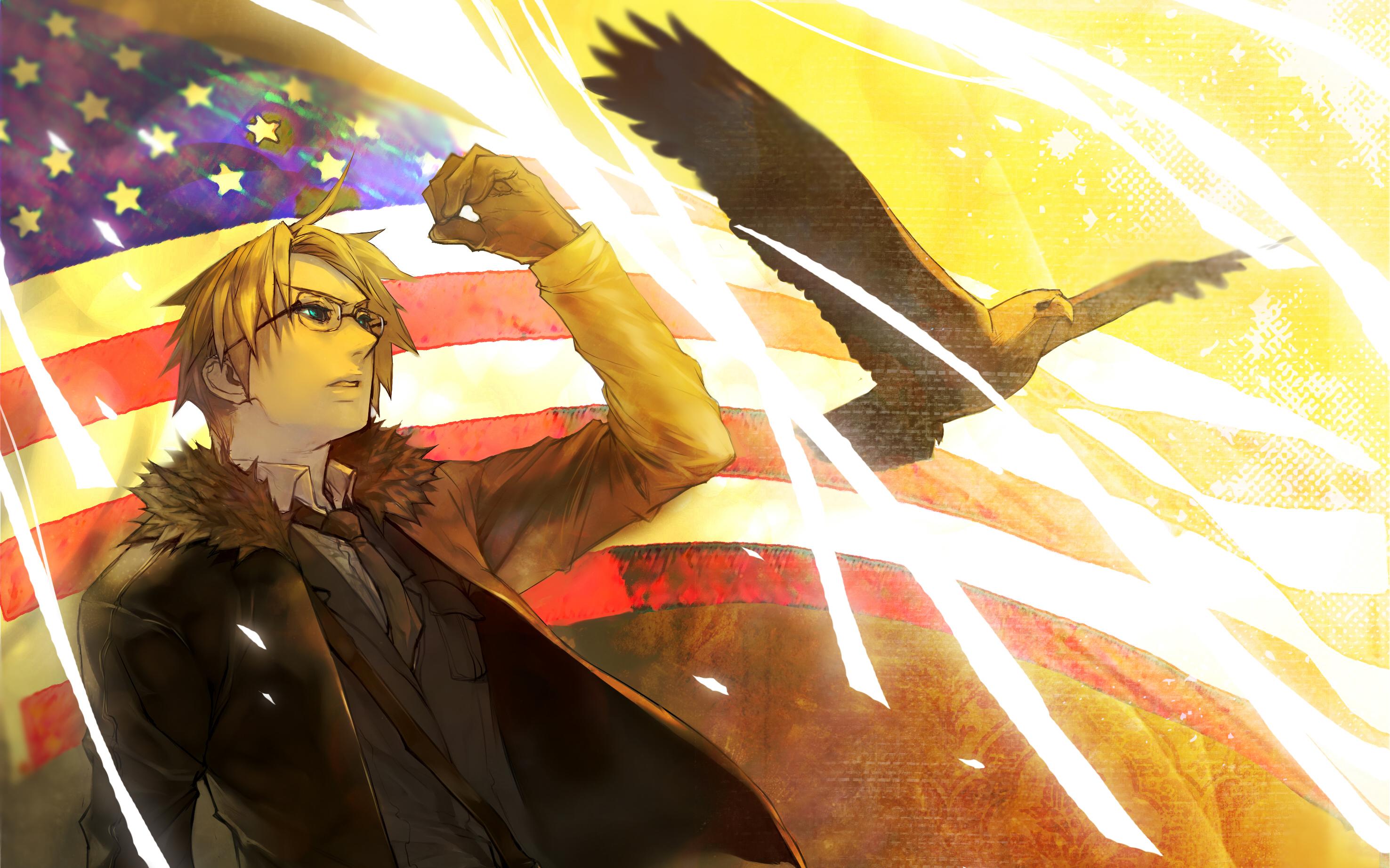 Birds eagles flags USA anime American Flag Axis Powers 2952x1845