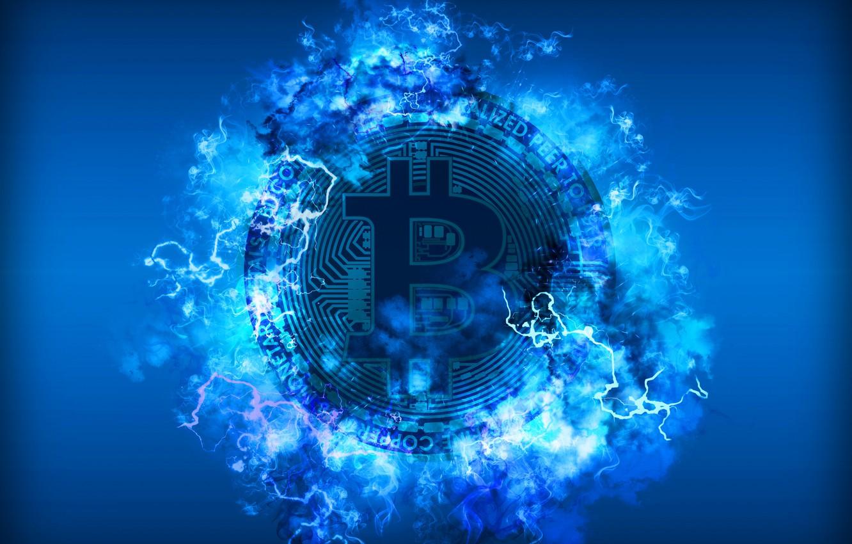 Photo Wallpaper Blue Lightning Blue Fon Coin Bitcoin 1332x850