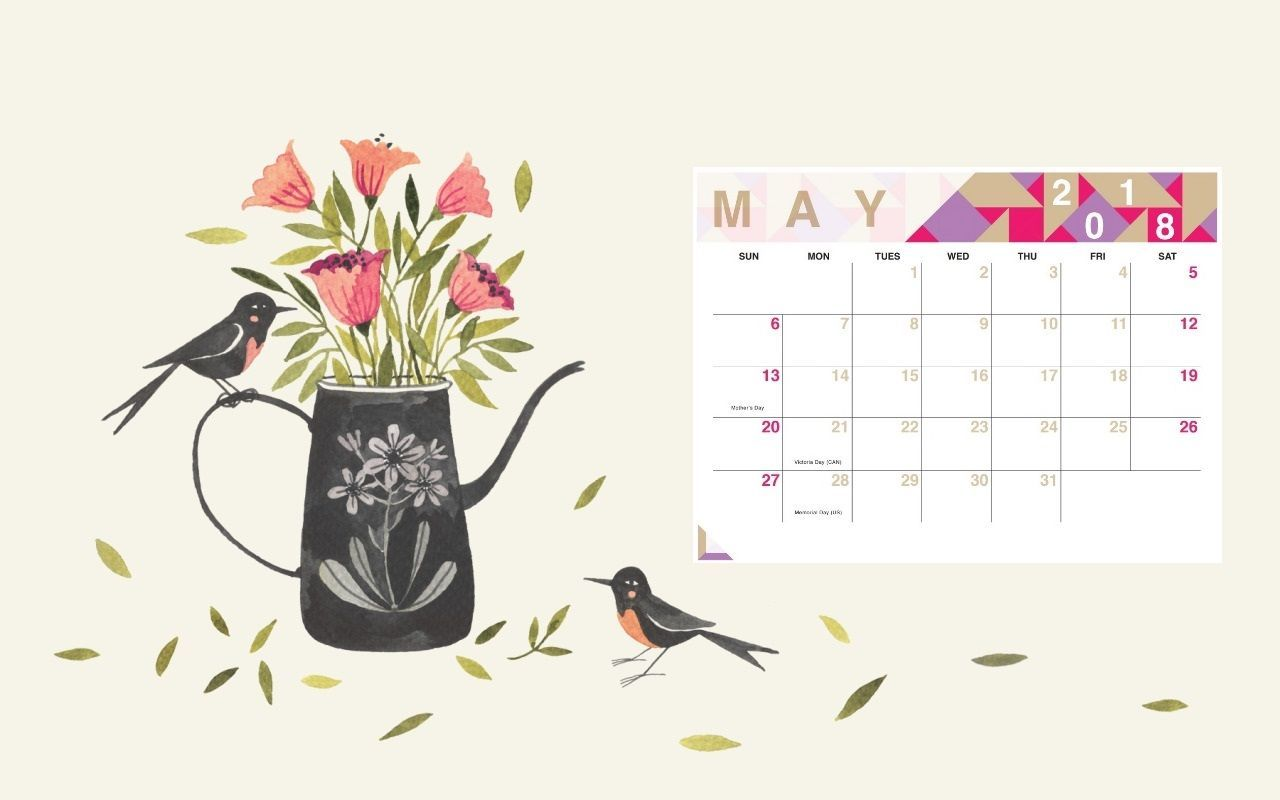 Floral May 2018 Calendar Wallpaper 2018 Calendars May 2018 1280x800
