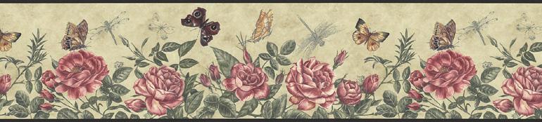 Roses Butterfly Dragonfly Wallpaper Border KS74356 eBay 770x174