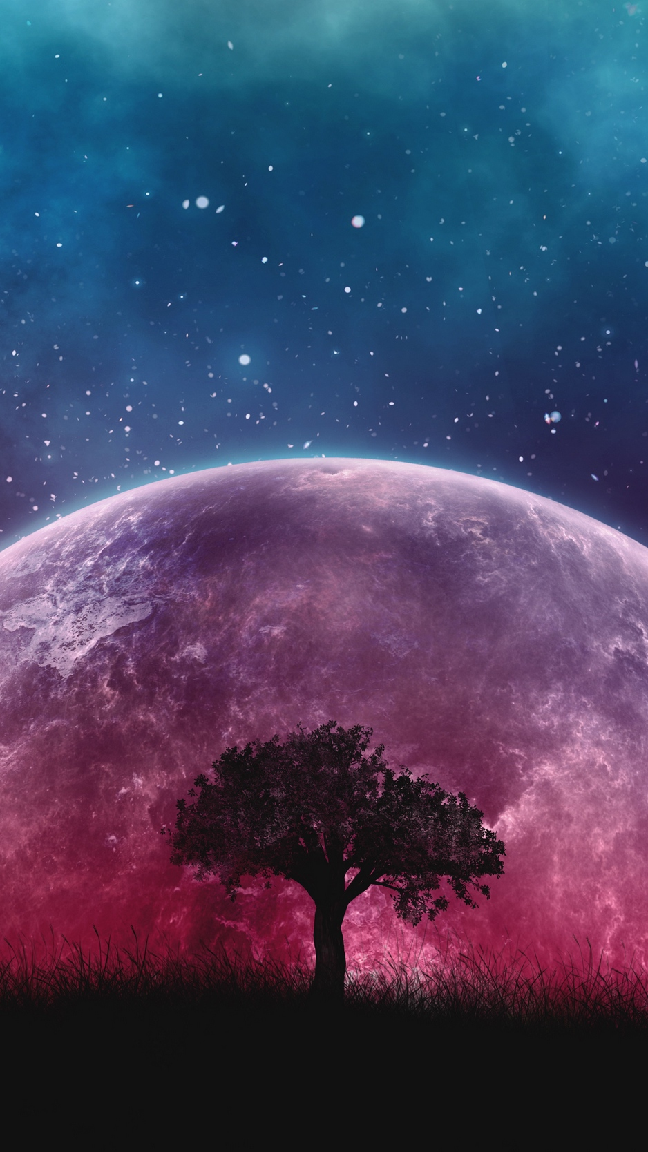 Free Download Download Wallpaper 938x1668 Tree Planet Stars