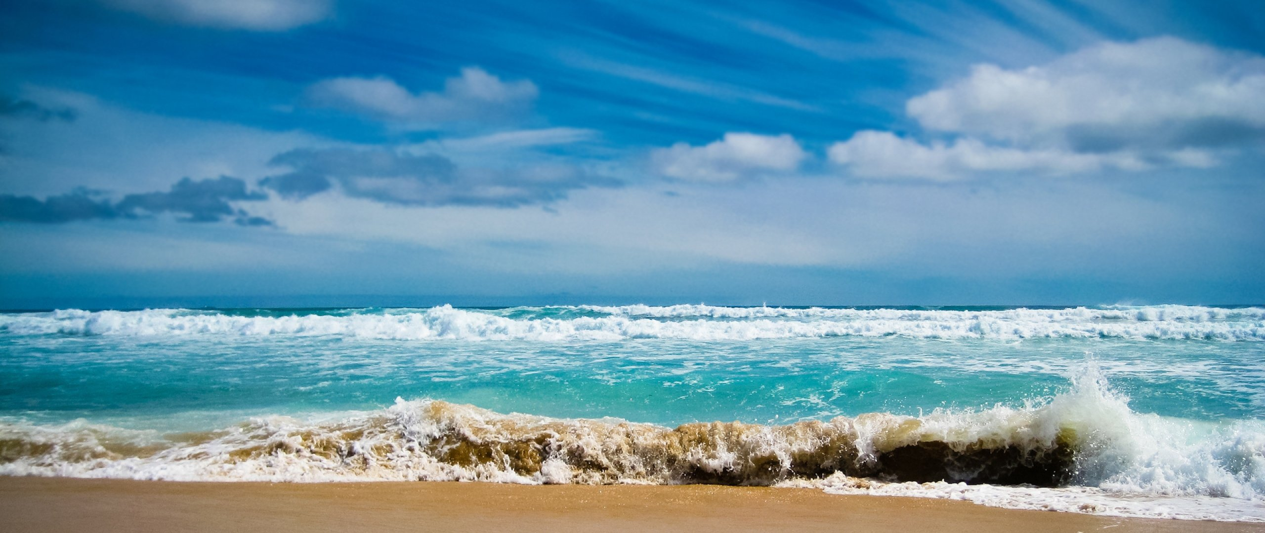 2560x1080 Wallpaper ocean sea gulf waves blue water coast beach 2560x1080