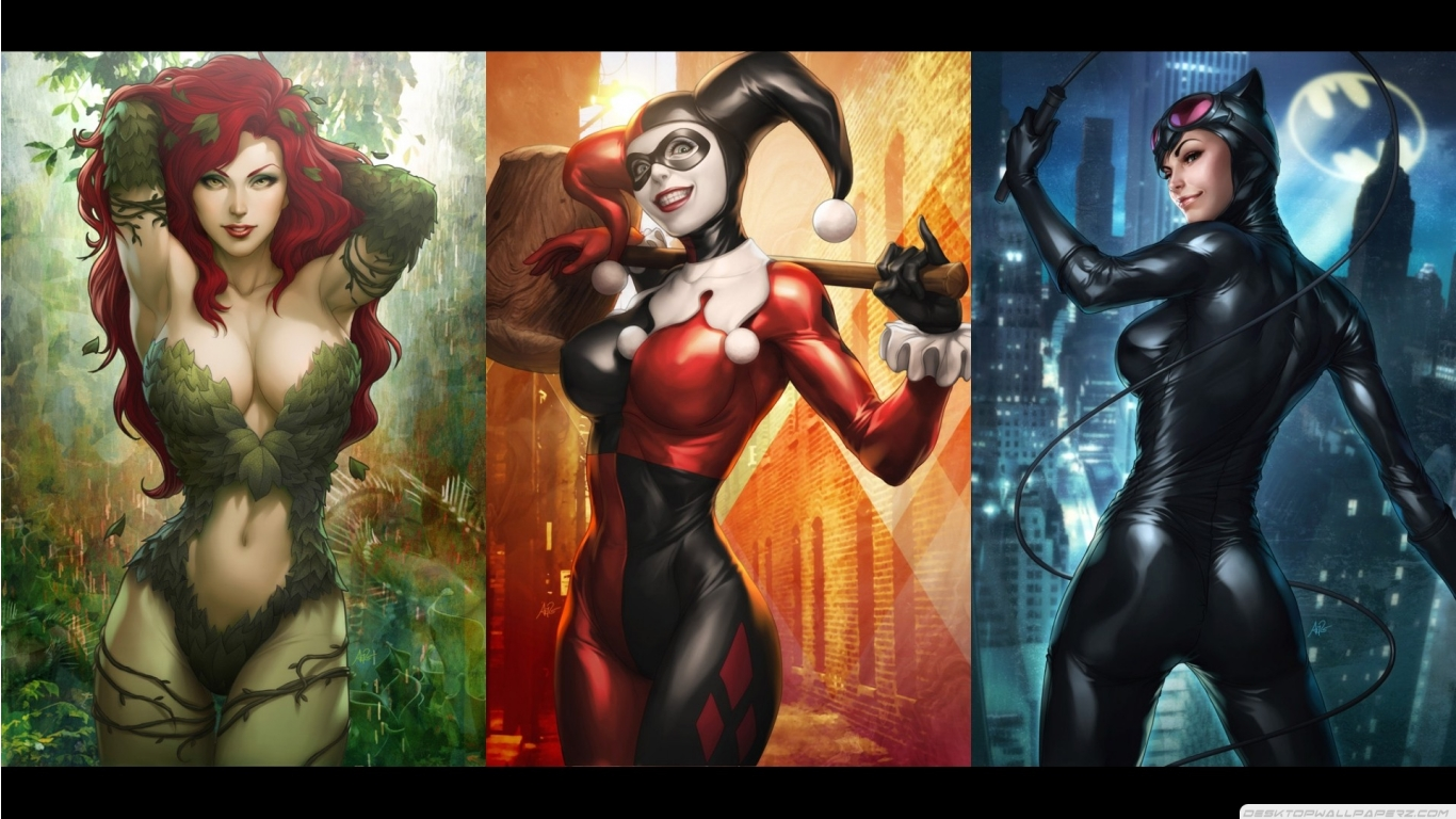 Dc Comics Harley Quinn Catwoman Poison Ivy 1366768 Wallpaper 1366x768