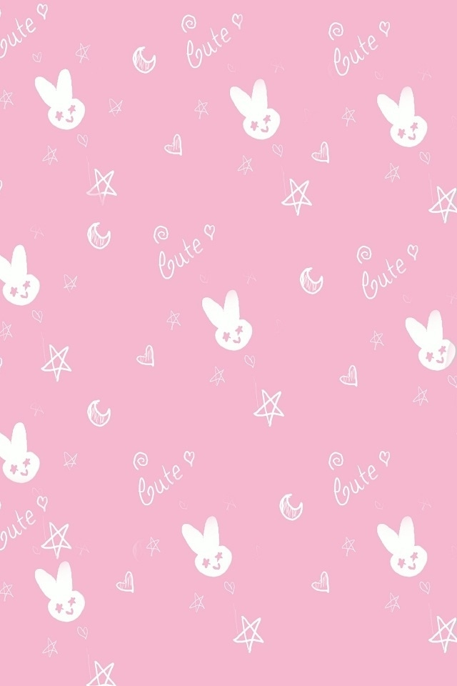 Cute Pink Rabbit Iphone 4 Wallpapers 640x960 Hd Iphone Themes 640x960