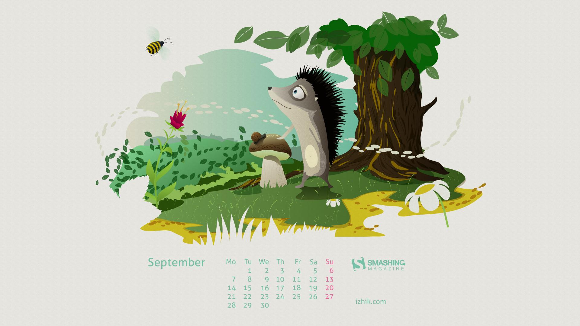 Calendars Wallpapers September 2015 listen closer the mushrooms are 1920x1080