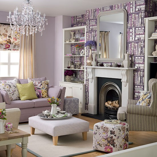 Purple living room with library print wallpaper Living room 550x550