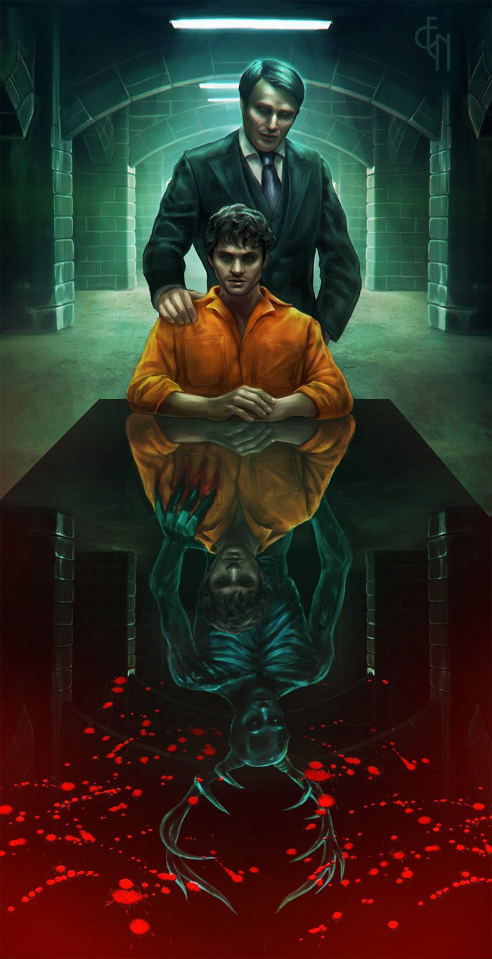 Will and Dr Lecter   Will Graham Hannibal TV series Fan Art 700x1365