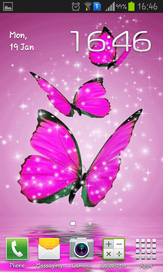 Beschreibung des Live Wallpaper Pink butterfly Pinker Schmetterling 330x550