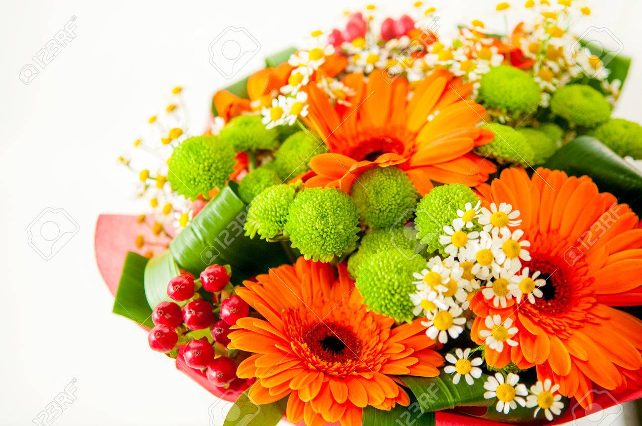 Autumn Beautiful Colourful Flower Bucket Background Isolated Stock 1300x863