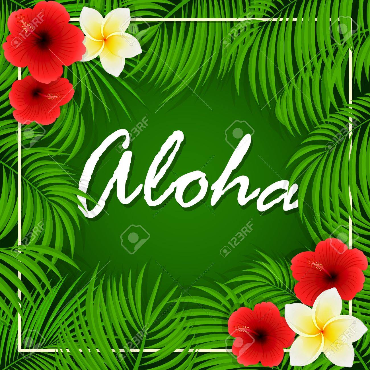 Summer Background With Inscription Of Aloha Palm Leaves And 1300x1300