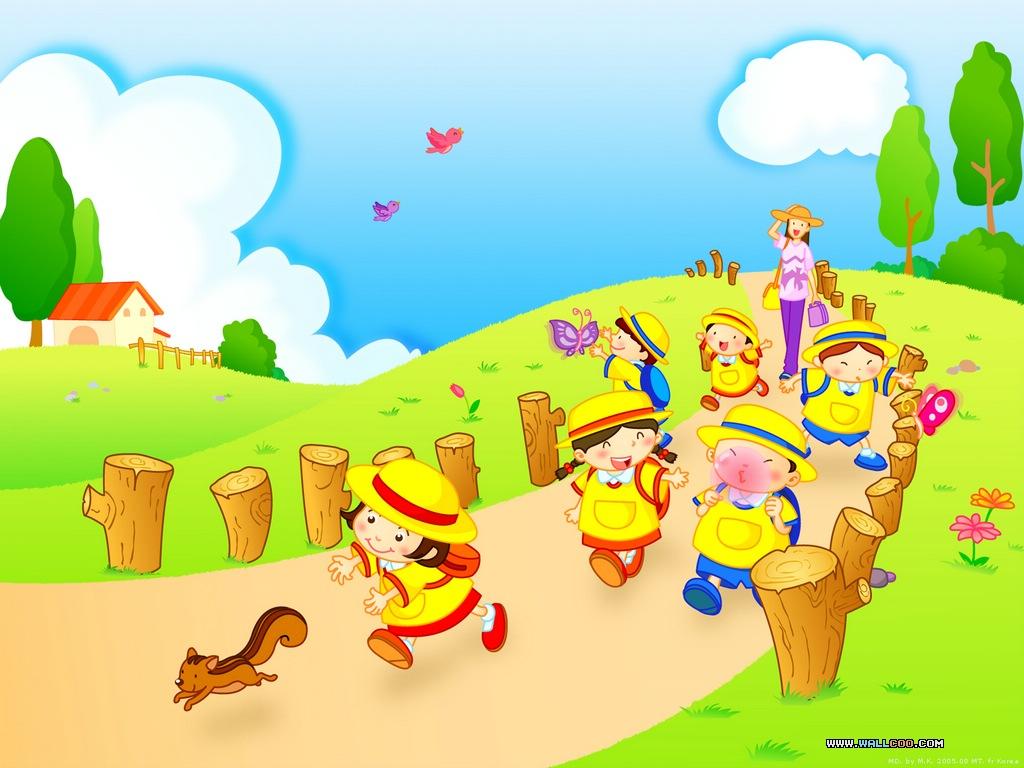 Cartoon wallpaper kindergarten 1024x768