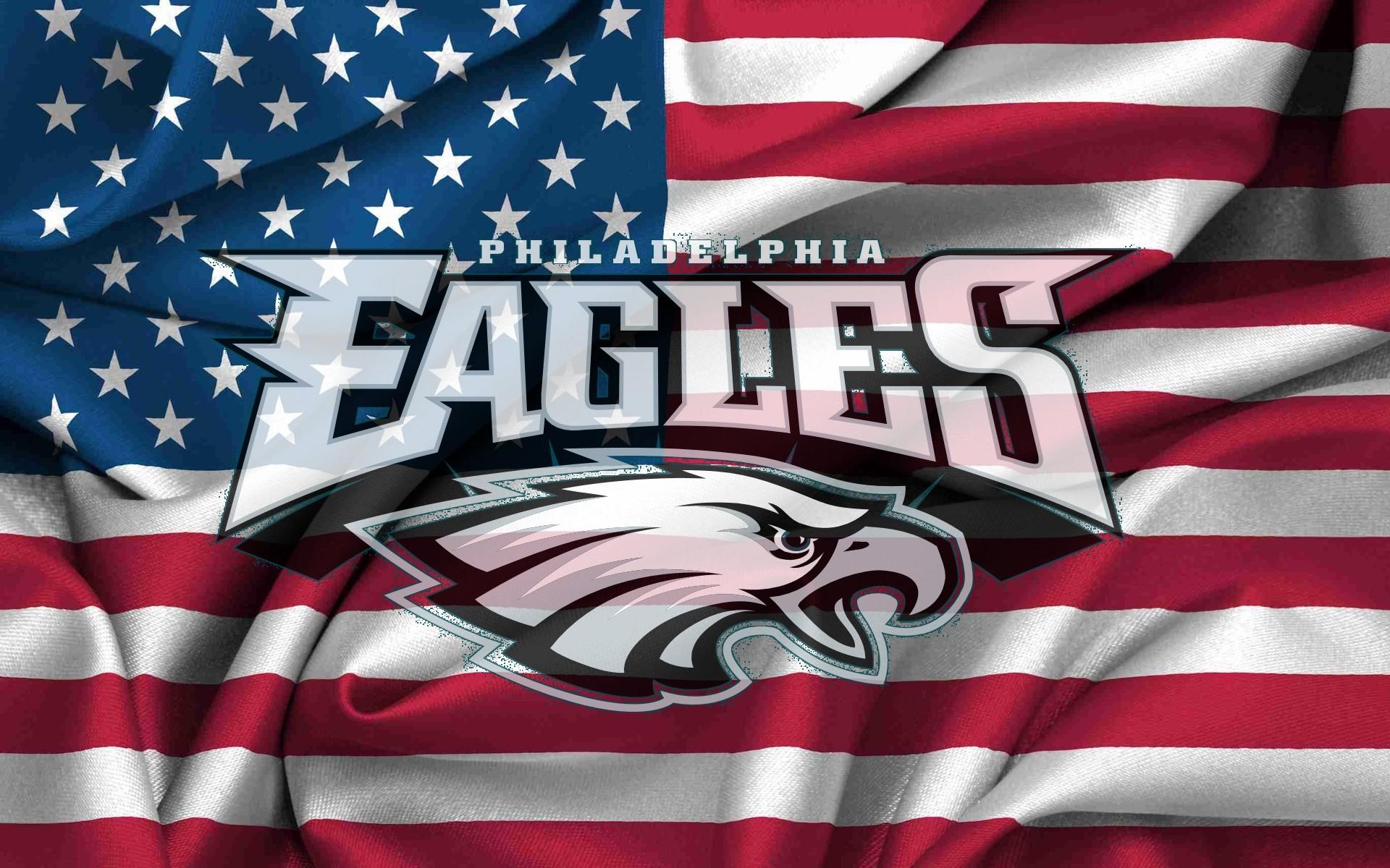 Philadelphia Eagles Logo On USA Flag Windy Canvas 1920x1200 WIDE NFL 1920x1200