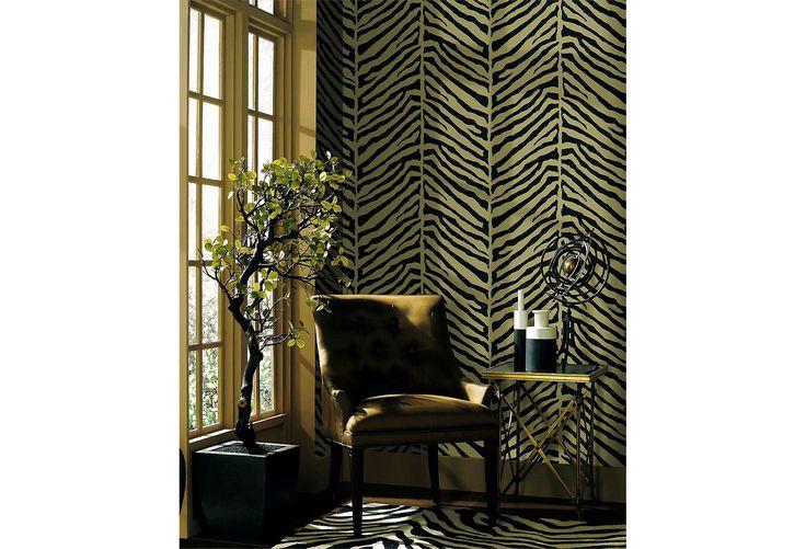 One Kings Lane   Black White Gold   Tailored Zebra Wallpaper Black 736x501