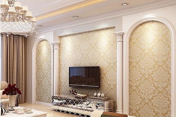 Wallpaper For Living room Bedroom TV Sofa background White Cream 600x398
