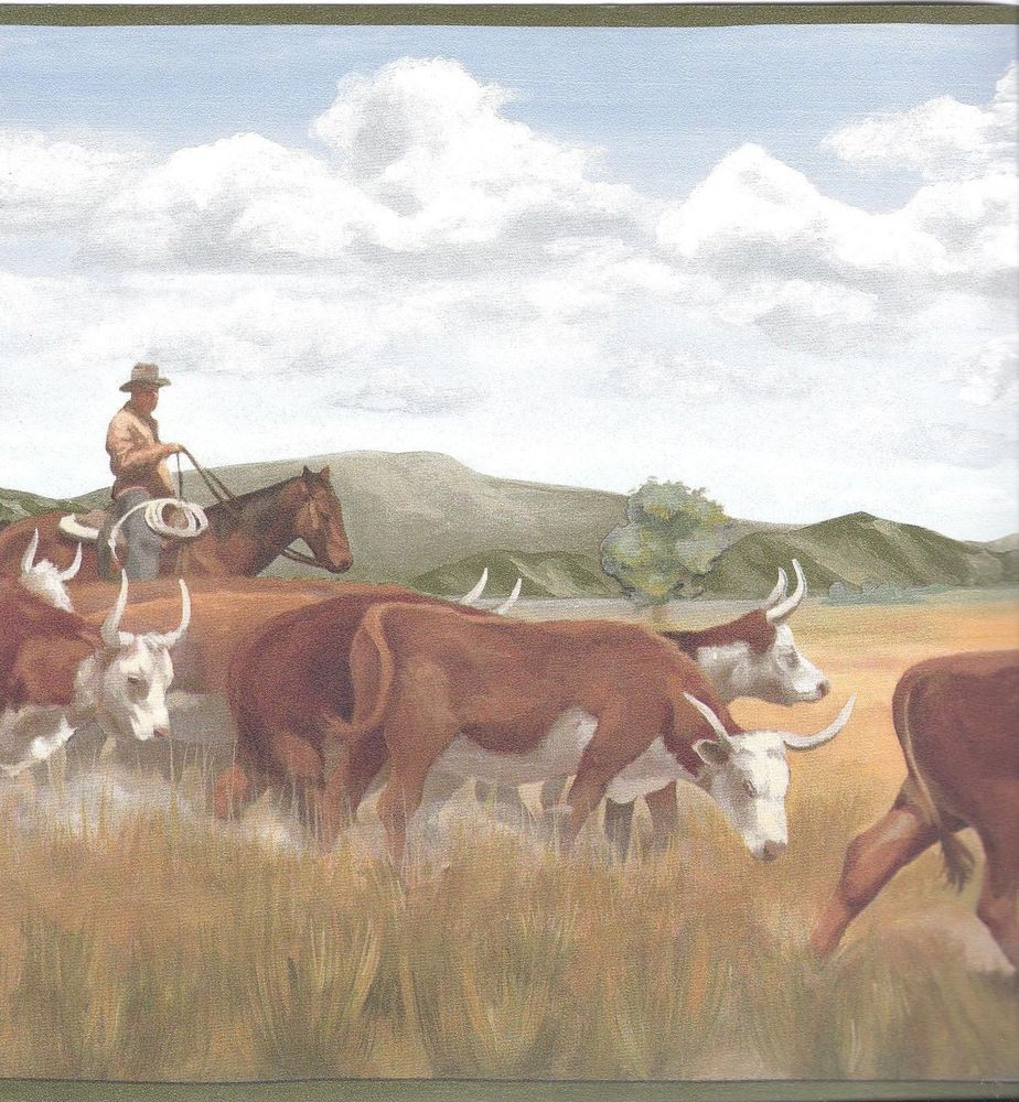 Western Cowboy Moving The Cow Herd Green Edge Wallpaper Border 924x1000