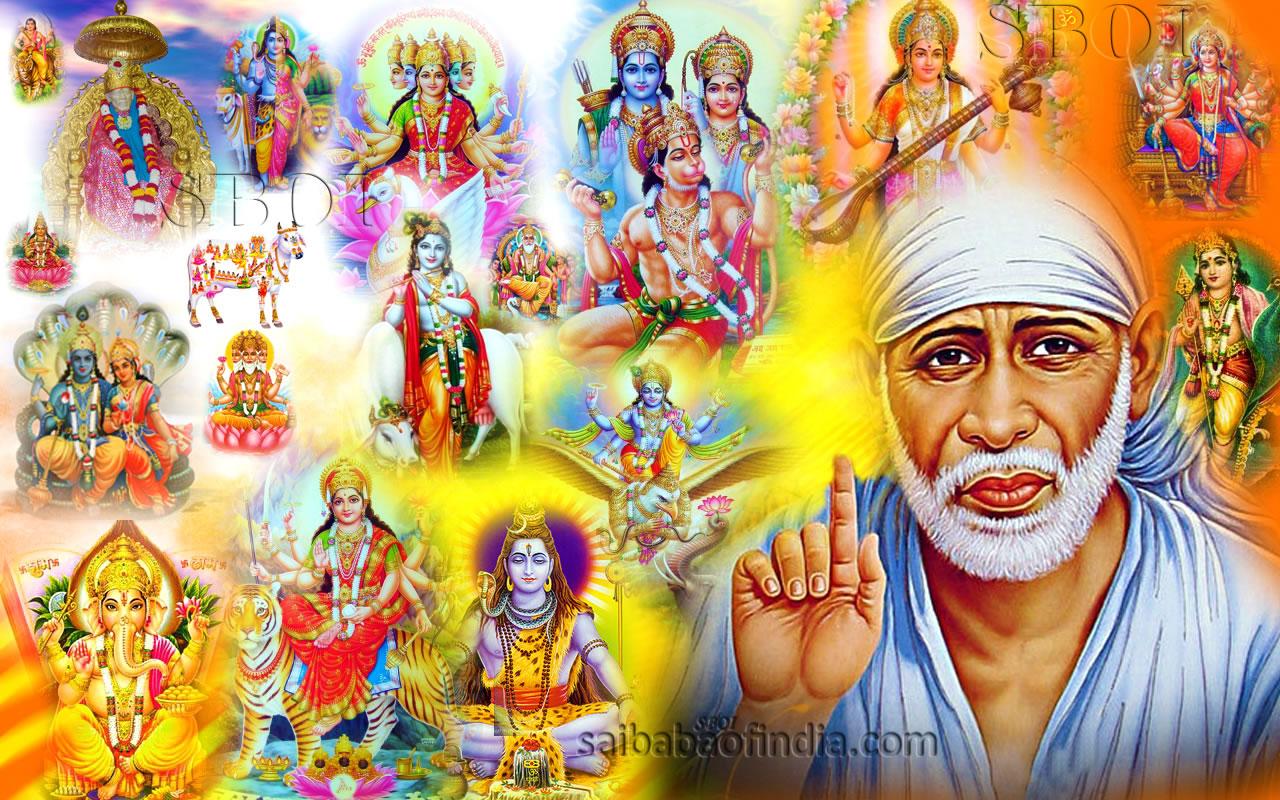 indian gods hindu gods collage shirdi sai baba saibaba wallpaperjpg 1280x800