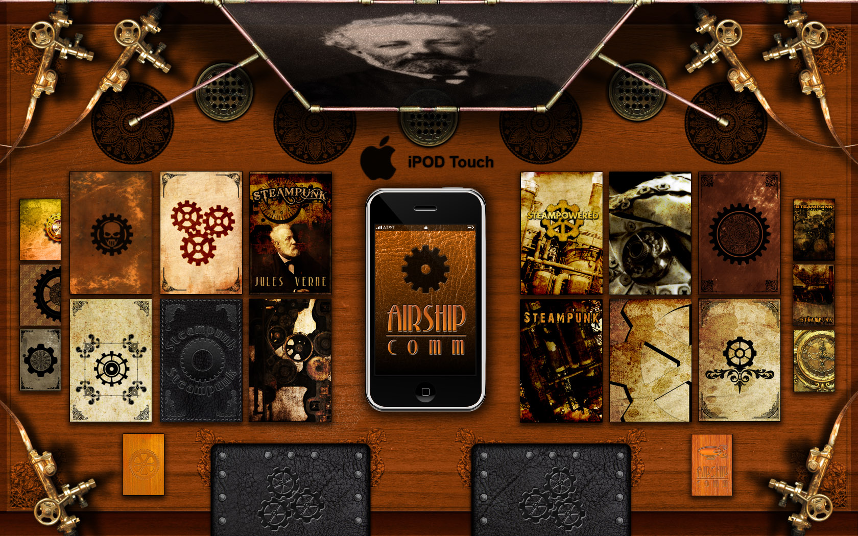 Steampunk theme iPod Touch by inception8 1680x1050