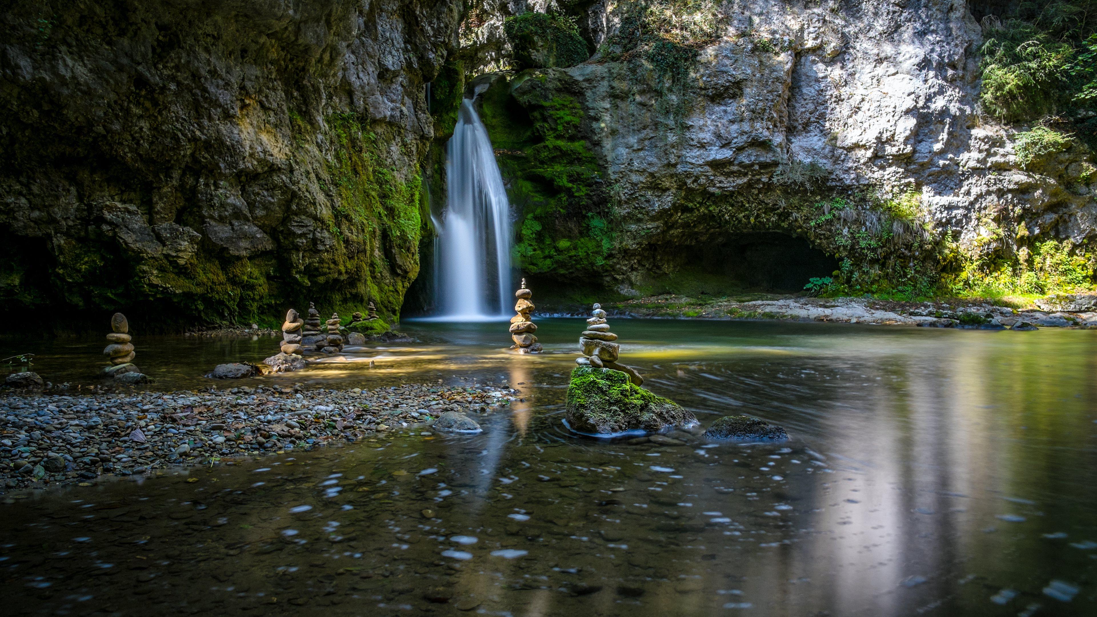 Zen Garden Waterfalls Wallpapers HD Wallpapers 3840x2160