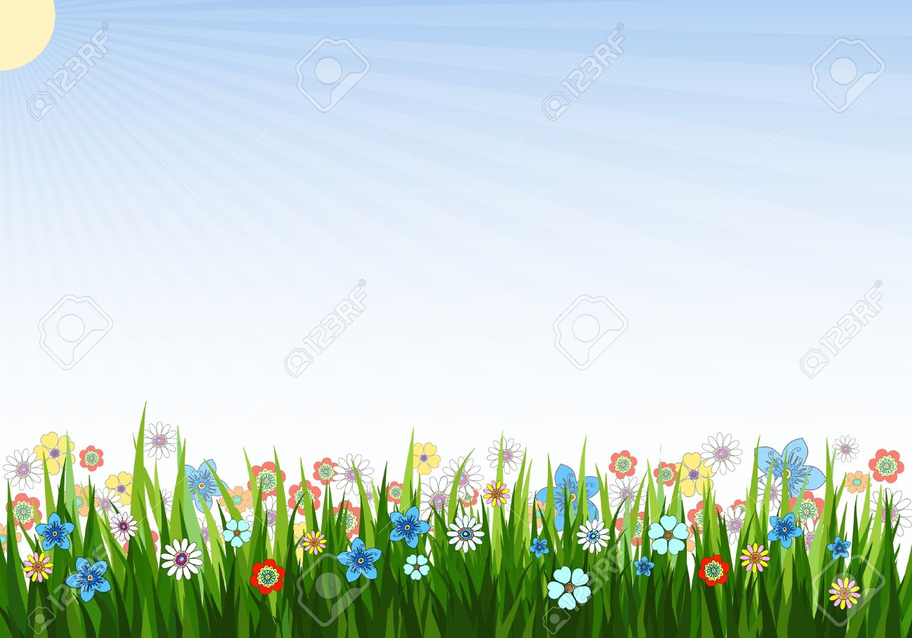 Vector Illustration Of A Spring Background With Grass Flowers 1300x910