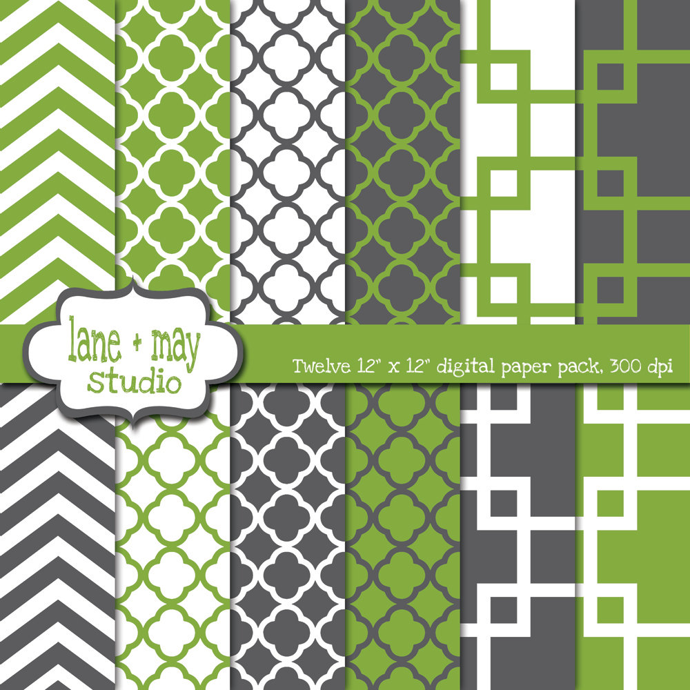 Scrapbook paper as wallpaper - Geometric Wallpaper In Gray Green Gray And White Geometric