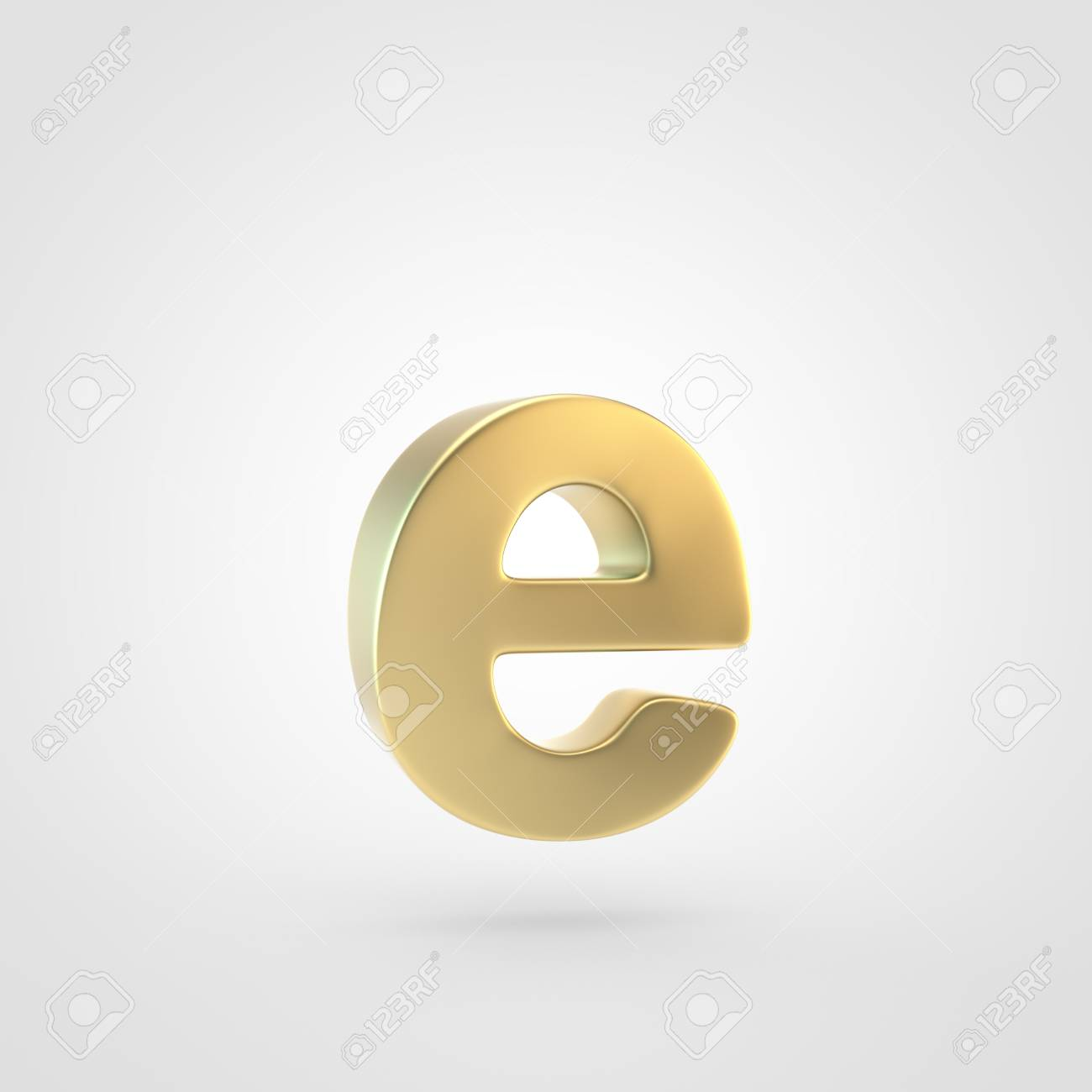 Golden Letter E Lowercase 3D Rendering Of Matted Golden Font 1300x1300