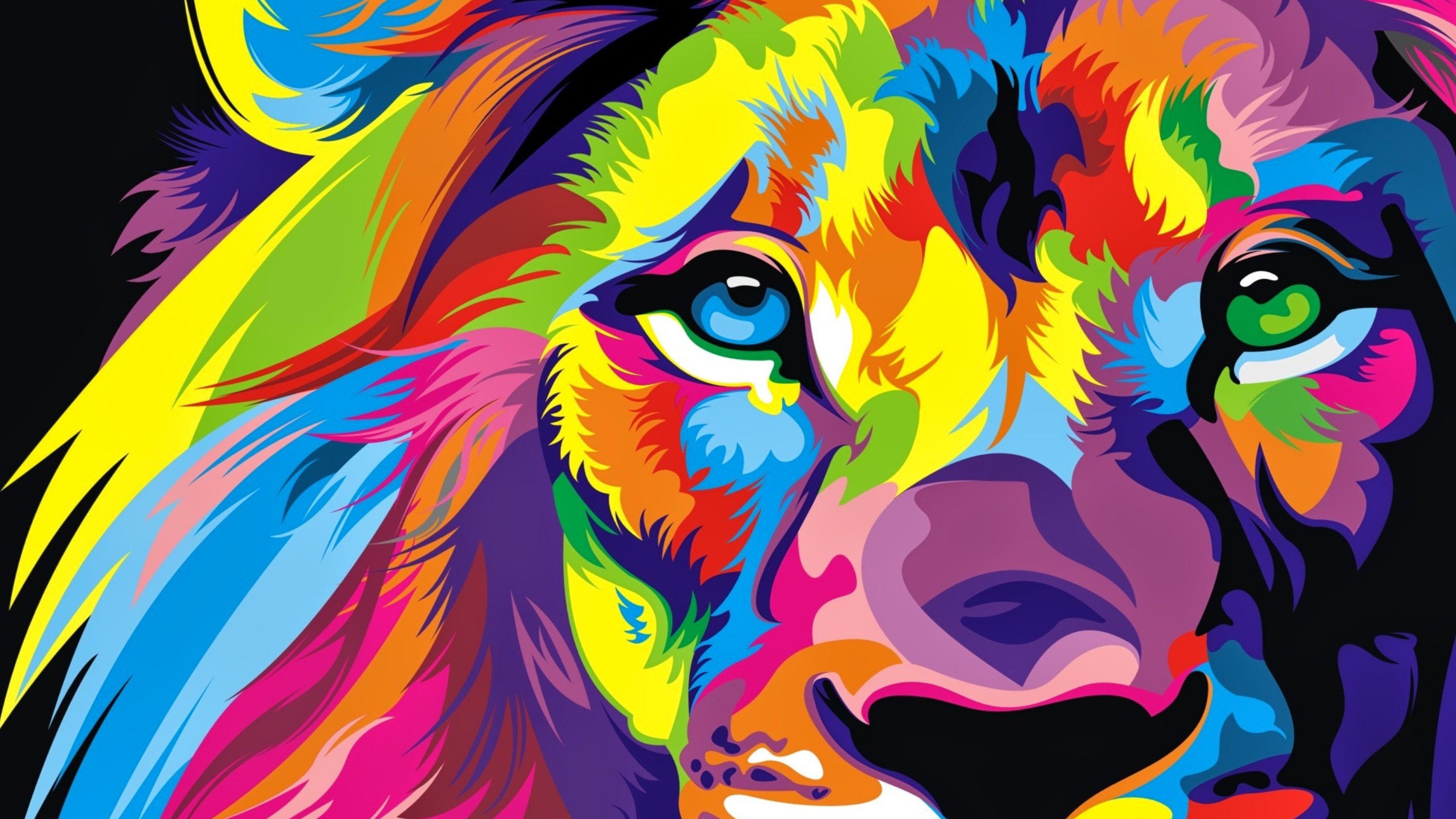 Free Download Download Full Hd Colourful Lion Artwork