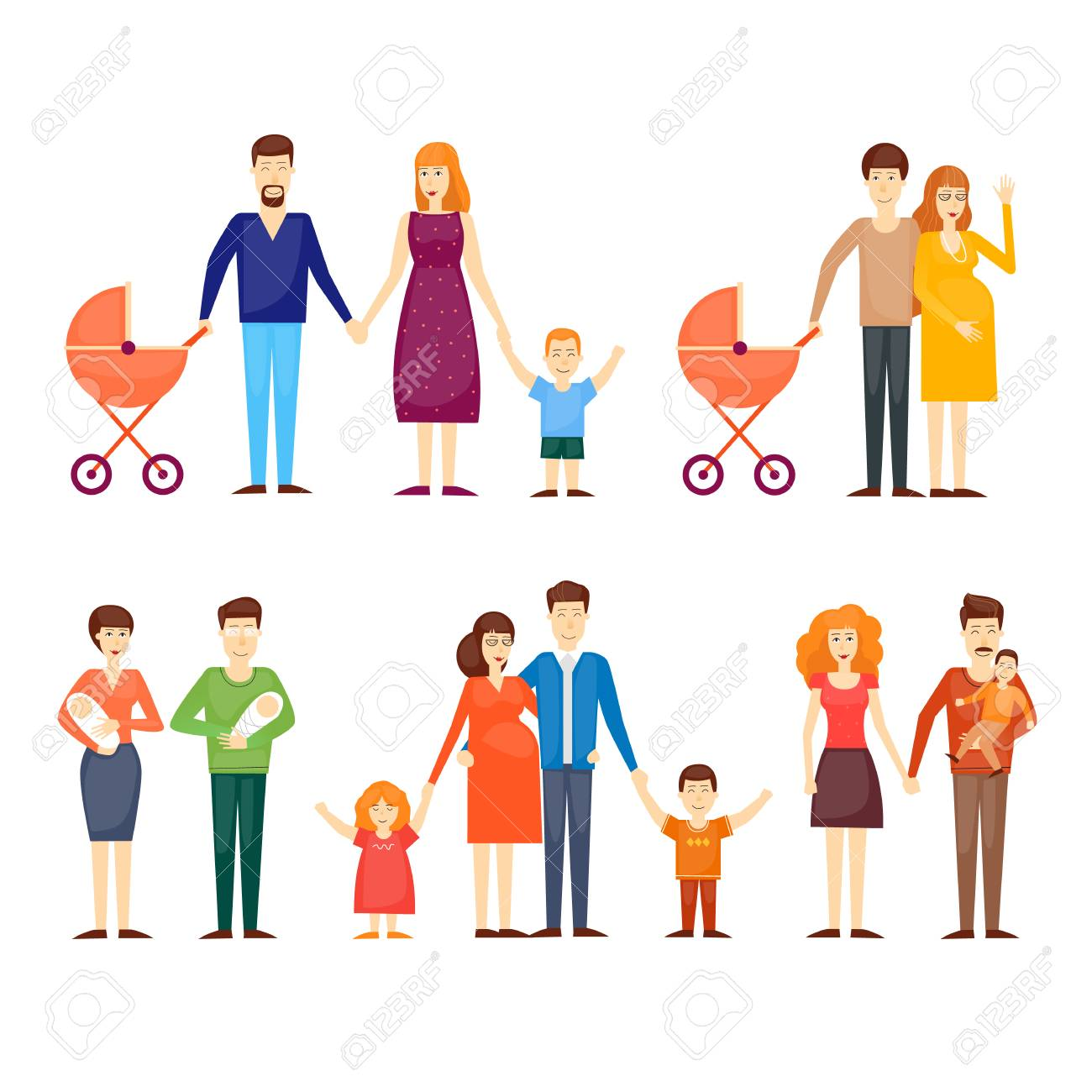 Parents With Kids Cartoon Family On An Isolated Background 1300x1300