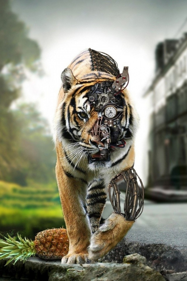 Tigers Digital Art Mobile Wallpaper   Steampunk Tiger   640x960 640x960
