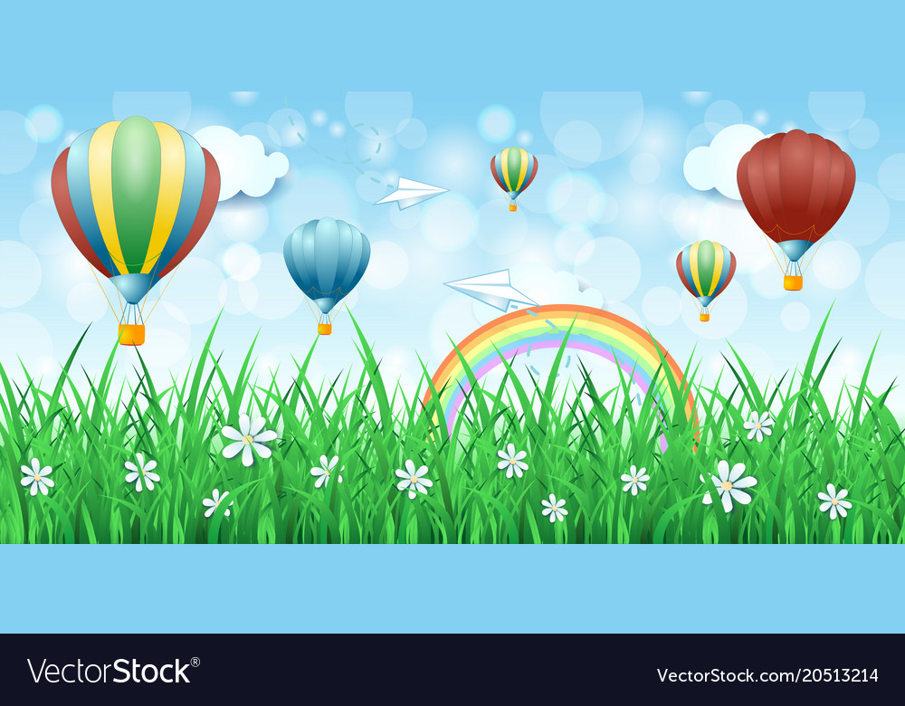 Spring background with hot air balloons Royalty Vector 1000x780