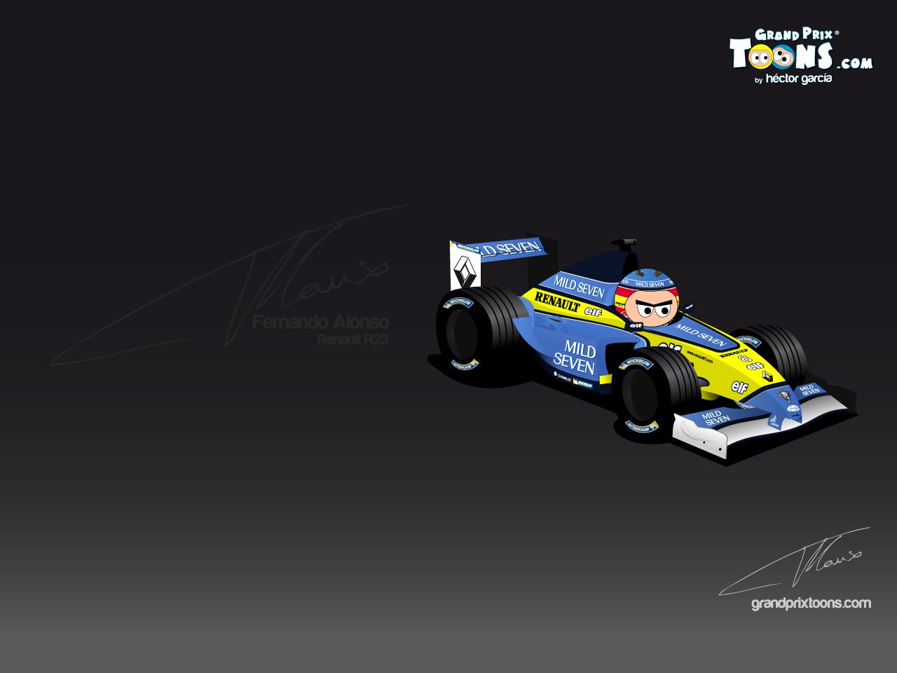Fernando Alonso Renault R23 gptoons grandprixtoons F1 wallpaper 1280x960