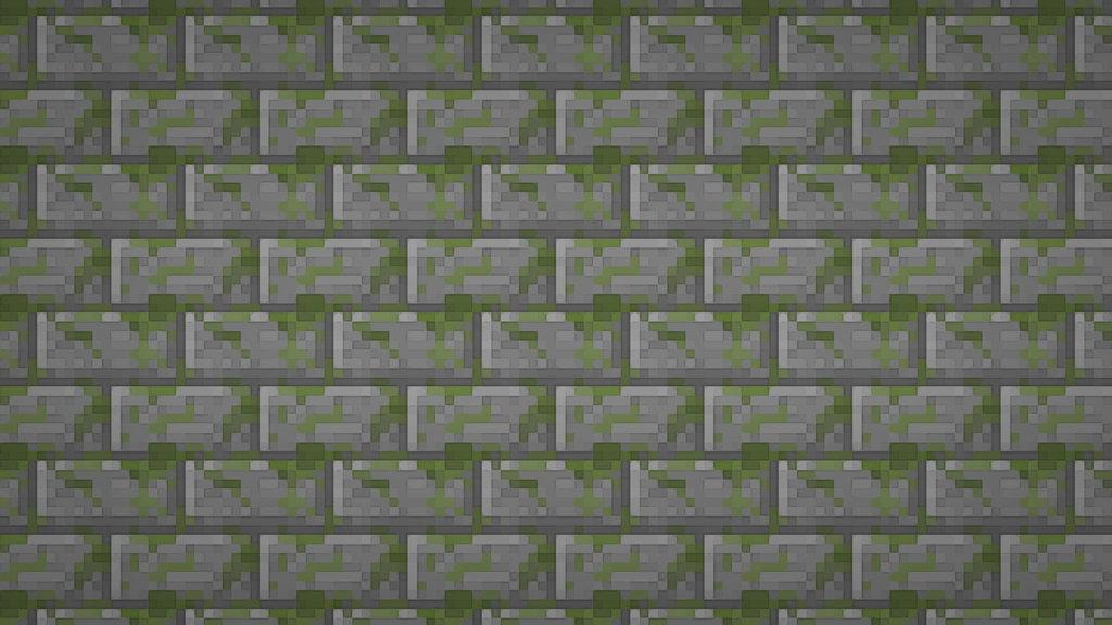 Minecraft Moss Stone Brick Textured Wallpaper by elbarnzo on 1024x576