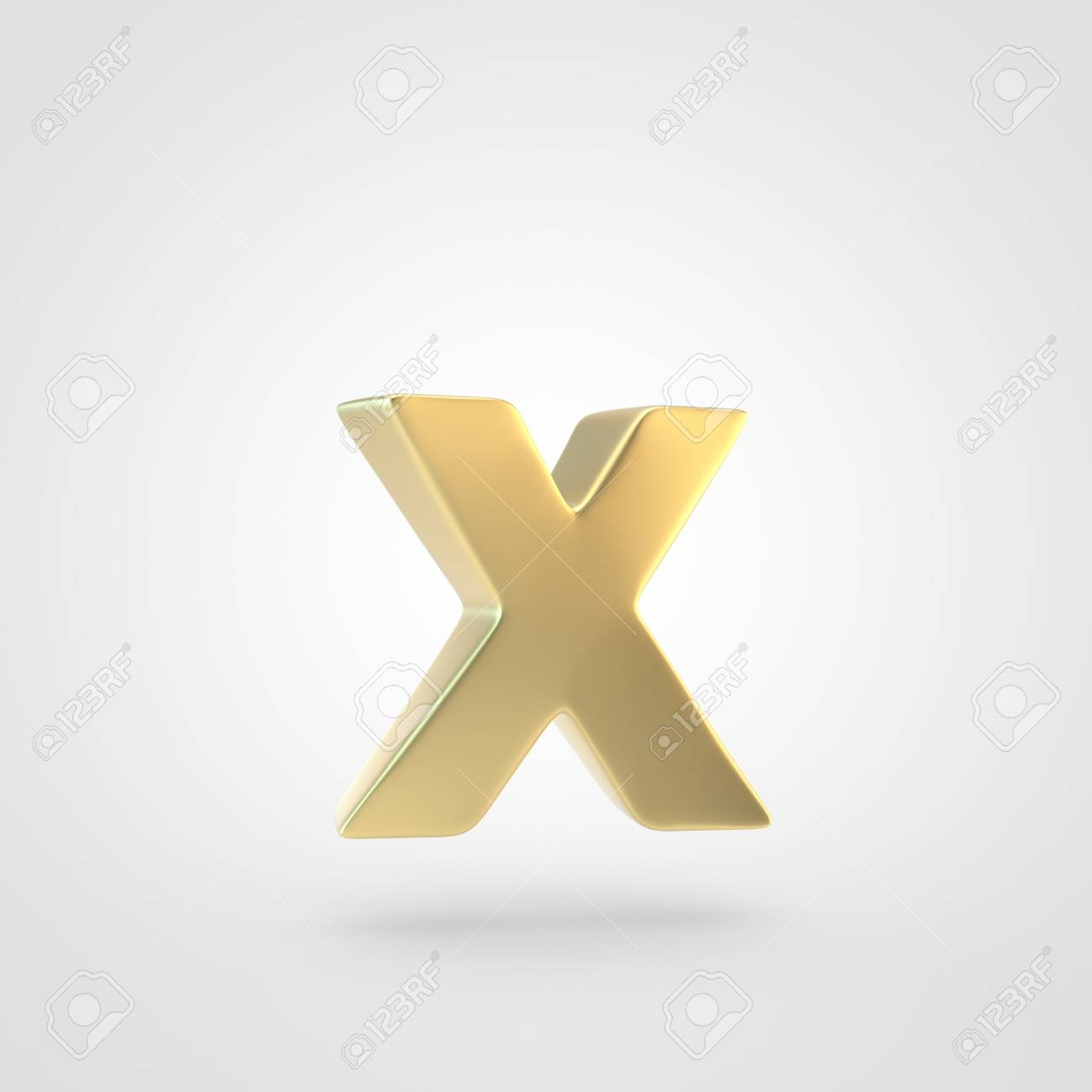 Golden Letter X Lowercase 3D Rendering Of Matted Golden Font 1300x1300