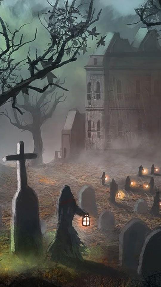 Graveyard Halloween HD Wallpaper 540x960   HD Wallpaper 540x960