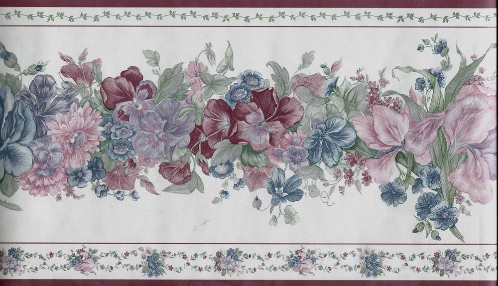 Traditional Blue and Burgundy Floral on White Wallpaper Border eBay 1000x574