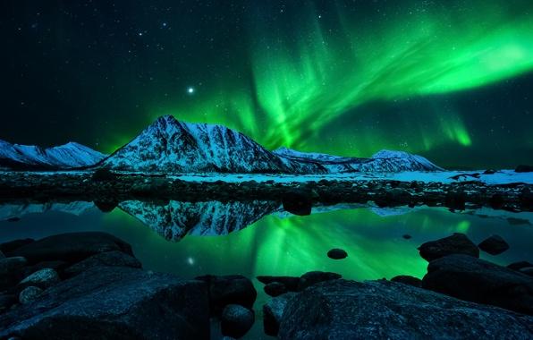 Wallpaper aurora borealis northern lights the sky the stars the 596x380