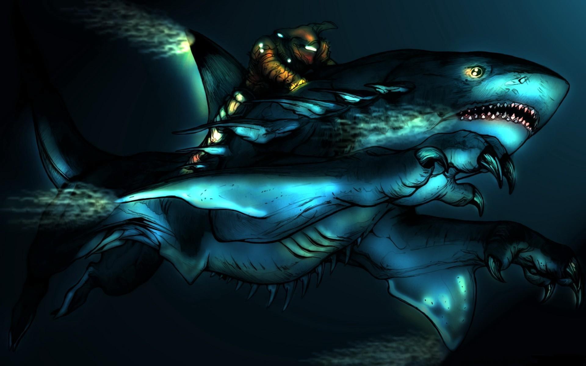 Humanoid shark illustration HD wallpaper Wallpaper Flare 1920x1200