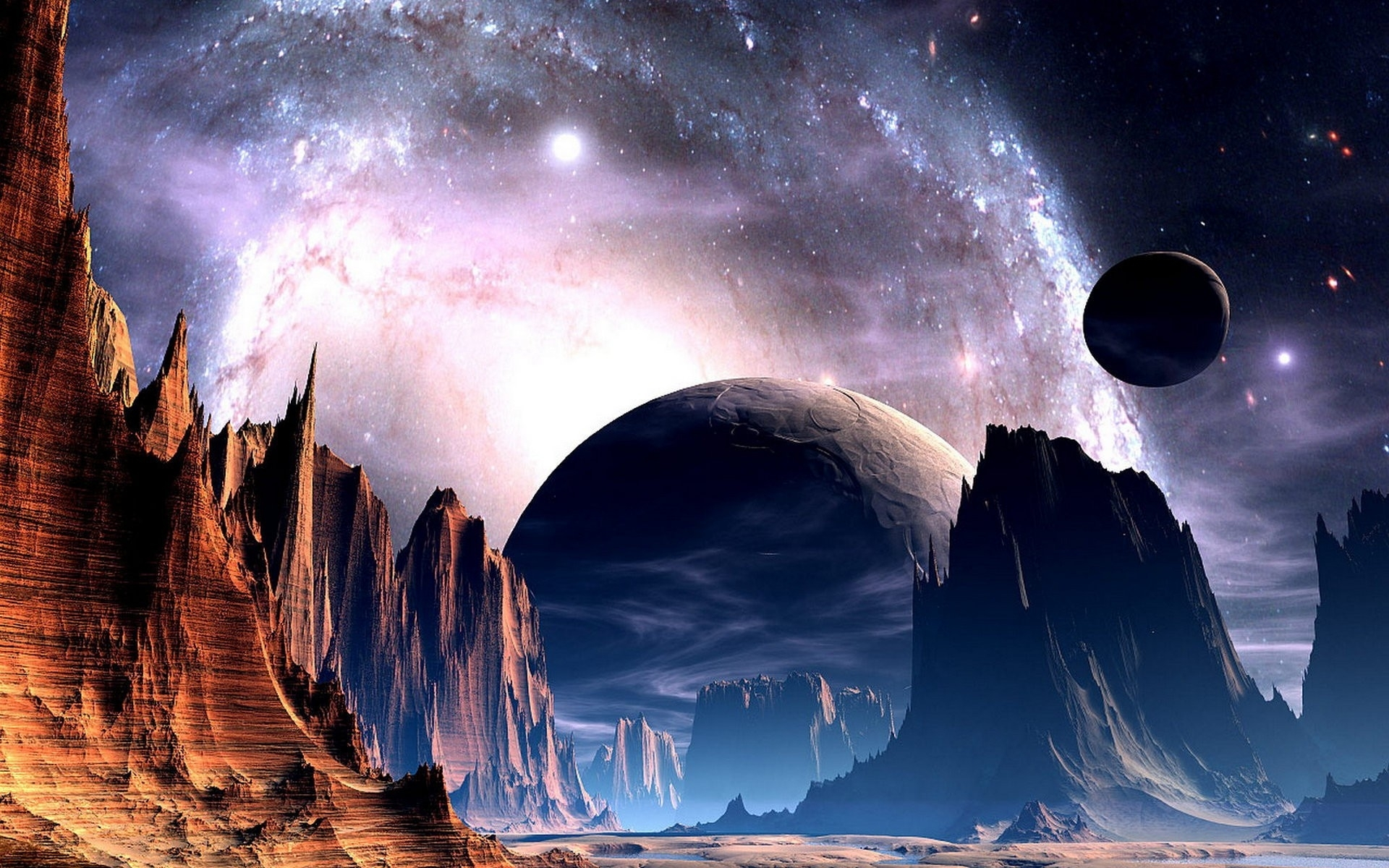 sci fi science fiction planets alien sky stars nebula galaxy space 1920x1200