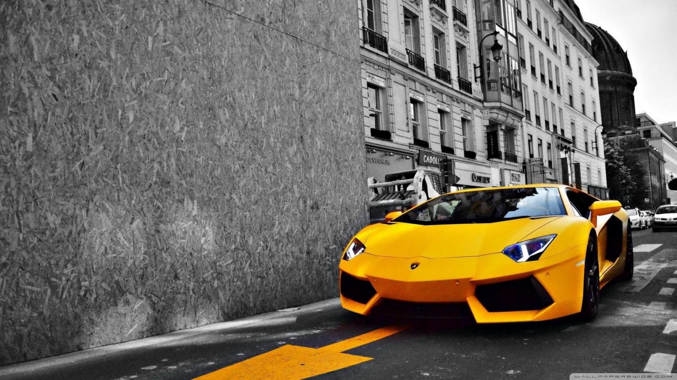 Yellow Lamborghini Aventador 4K HD Desktop Wallpaper for 4K 1366x768